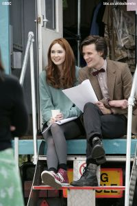Matt Smith with Karen Gillan who plays his companion.